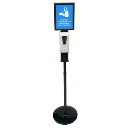 Stand with Automatic Dispenser for Disinfectant and A4 Frame, black
