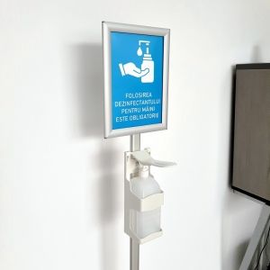 Stand with Manual Dispenser for Disinfectant and A4 Frame v2